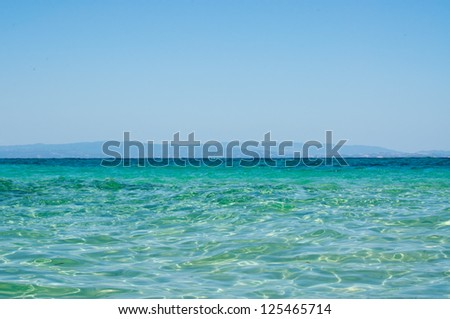 Seascape with sea and sky fifty-fifty - stock photo