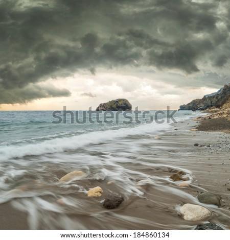 Seascape with stormy sky majestic - stock photo