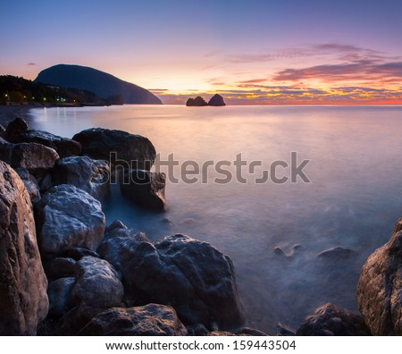 Seascape with sunrise