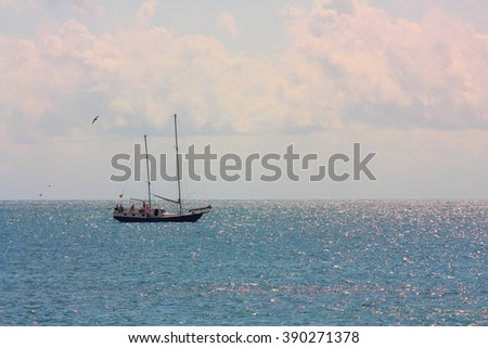 Seascape. Yacht sailing on the sea sunny day - stock photo