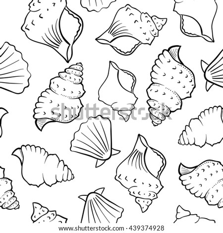 Seashell background. Abstract seamless pattern. Endless ornament. Black outlines on white background. Can be used for wallpaper, textile, fabric, surface textures and coloring book. - stock photo