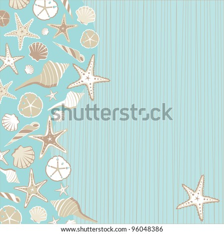 Seashell Beach party invitation       with a variety of shells on an aqua teal stria background wtih a whimsical beach or tropical feel and plenty of room for your party info - stock photo