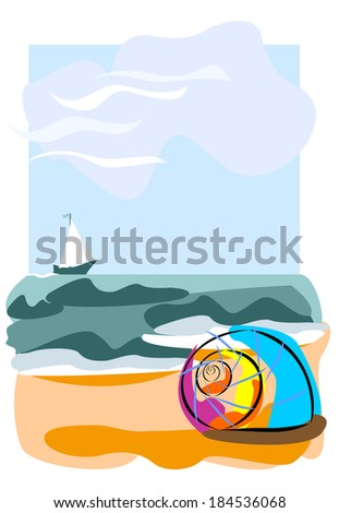 Seashell on the beach. Raster illustration with abstract tropical beach, single abstract shell and little ship on horizon. - stock photo