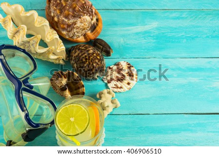 Seashells and beach cocktail background. Beach cocktail. Beach party.  Beach drink. Tropical relax. - stock photo