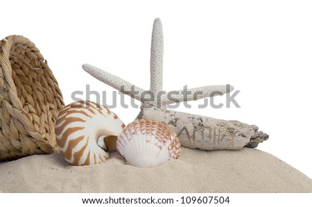 seashells, basket, starfish and sand on white background - stock photo
