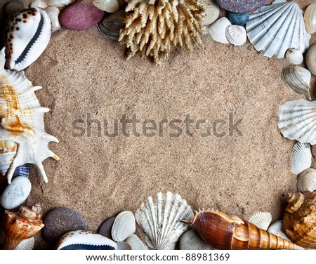 Seashells, coral and stones in shape of frame on sandy beach with free space for text and advertise - stock photo