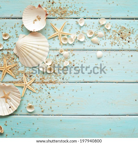 seashells frame on wooden background. nautical border - stock photo