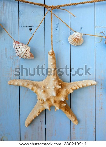 Seashells hanging on the rope, vintage styling and instagram toning - stock photo