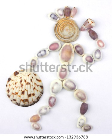 seashells in the shape of human with bottle( or horn) and bag