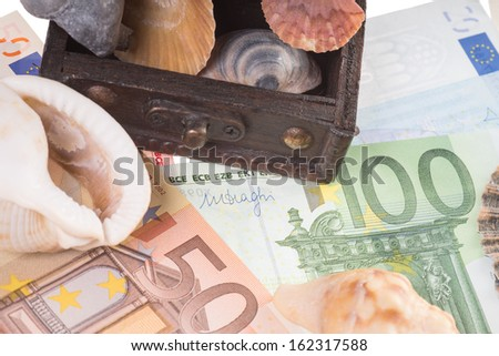 Seashells with euro money / holiday money