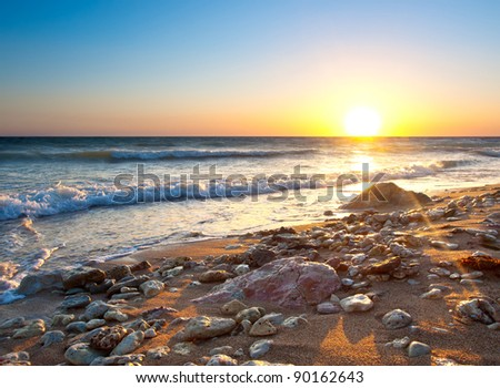 Seashore during sundown. Composition of the nature