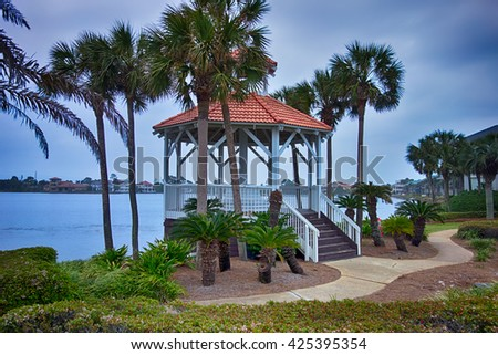 seashore gazebo and palm trees in florida