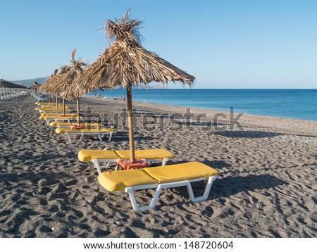 seashore landscape of Rhodes island in Greece - stock photo