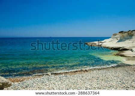 Seashore, limestones near Limassol, Cyprus - stock photo