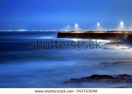 Seashore with lights in Cape Town, South Africa