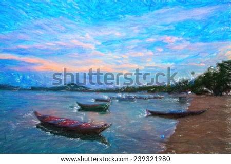 Seashore with long-tailed boats. Imitation of drawing. - stock photo