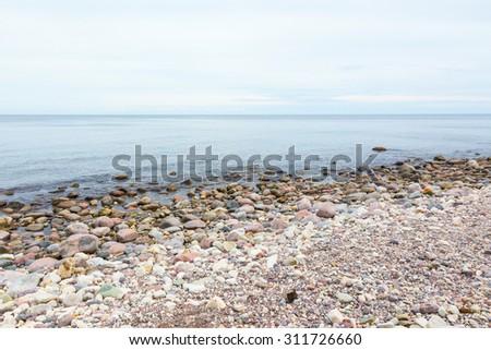 seashore with sea horizon view - stock photo