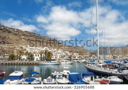 Seaside and marina of Puerto de Mogan. Gran Canaria. Canary Islands - stock photo