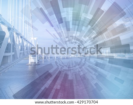 seaside bridge and concentration line, abstract image visual