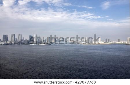 seaside city panorama - stock photo