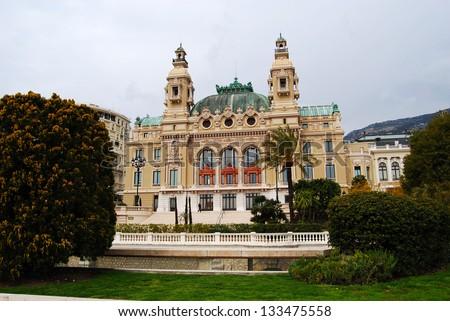 Seaside facade of the Salle Garnier, home of the Opera de Monte-Carlo and Casino Monte Carlo - stock photo