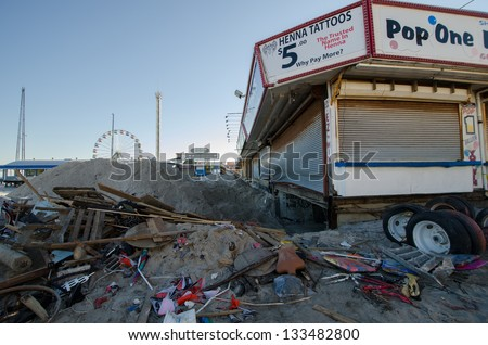SEASIDE HEIGHTS, NJ/USA - JANUARY 18: The basement of a boardwalk business devastated by hurricane Sandy is cleaned out on January 18, 2013 in Seaside Heights, New Jersey . - stock photo