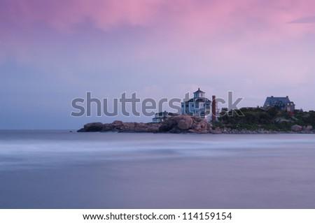Seaside homes on Bass Rocks, Gloucester, MA, Cape Ann. - stock photo