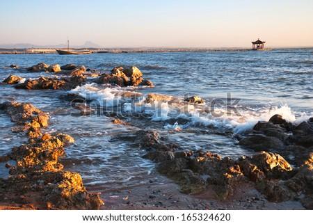 seaside of the Bohai, China - stock photo