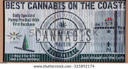 SEASIDE, OREGON - SEP 28, 2015 - Legal marijuana, Billboard for 'Best Cannabis on the Coast' Seaside,  Oregon Coast