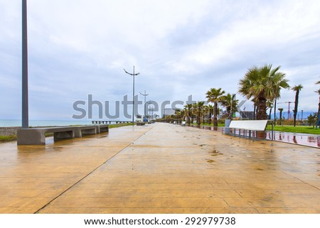 seaside promenade in Georgia. There is a place for walking and cycling