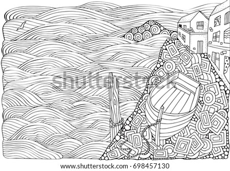 Wooden Boat Lying On The Shore Adult Coloring Book Page In Zentangle