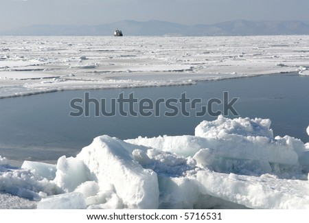 Seaside  region,     Russia Winter, ice on sea ,  City(town) Vladivostok