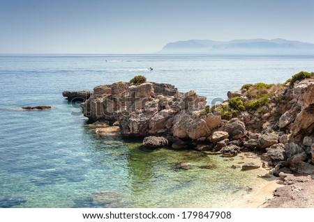 seaside, scopello sicily - stock photo