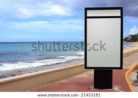 Seaside signage and prime ad space - stock photo