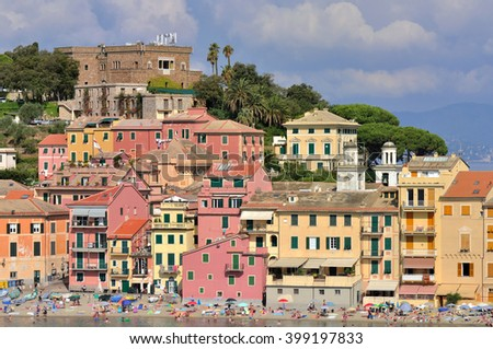 seaside tow with colorful buildings in sestri Levante - Italy
