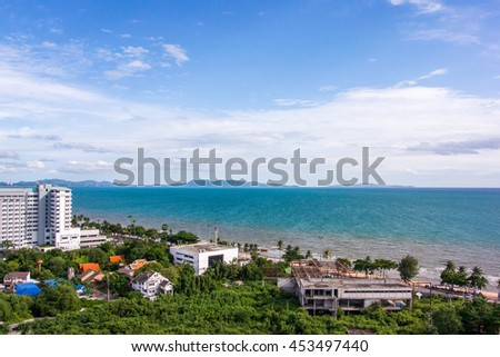 Seaside town of Pattaya in Thailand Good weather blue sky Bird's eye view