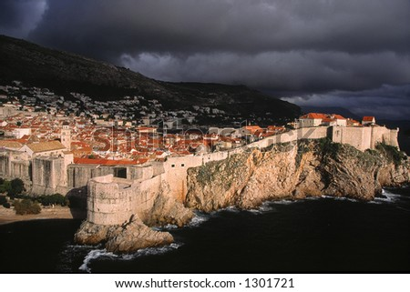 Seaside view of the historic part of Dubrovnik, Croatia after a rain storm in mid-October.