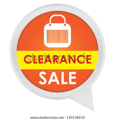 Season Sale Sticker or Label Present By Clearance Sale on Orange Icon Isolated on White Background - stock photo