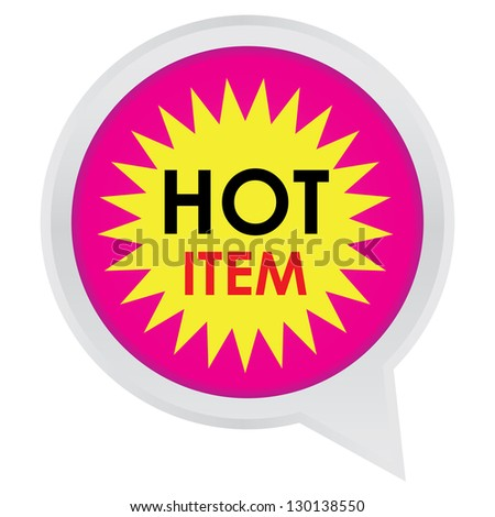 Season Sale Sticker or Label Present By Hot Item on Pink Icon Isolated on White Background - stock photo