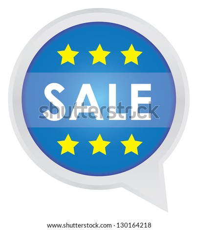 Season Sale Sticker or Label Present By Sale on Blue Icon Isolated on White Background - stock photo