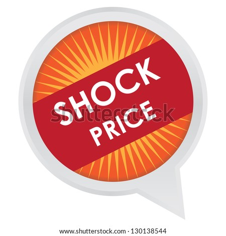 Season Sale Sticker or Label Present By Shock Price on Orange and Red  Icon Isolated on White Background - stock photo