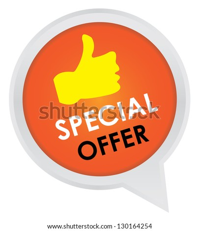 Season Sale Sticker or Label Present By Special Offer on Orange Icon Isolated on White Background - stock photo