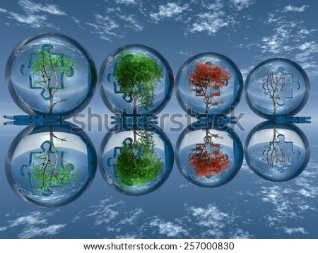 season trees - stock photo