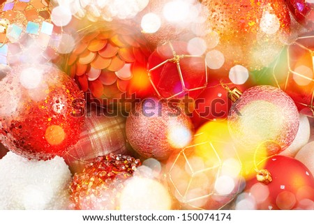 Seasonal Christmas decoration background as a fragment of a decorated christmas tree covered with bokeh light effect - stock photo