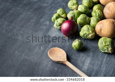 Seasonal cooking with Brussel sprout - stock photo