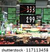 Seasonal discounts in big supermarket - stock photo