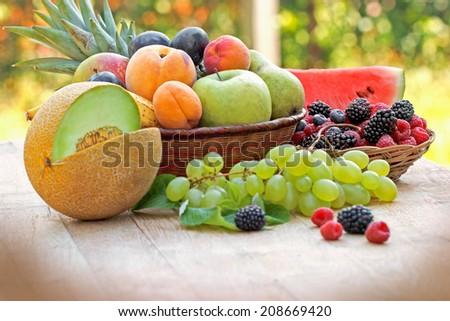 Seasonal fruits - summer fruits - stock photo