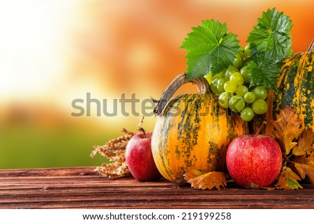 Seasonal harvested agriculture products on wooden planks with blur background - stock photo
