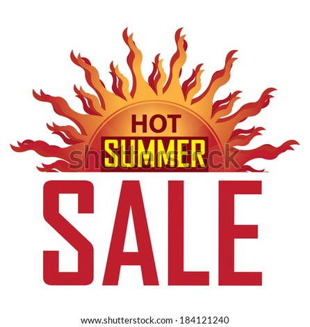 Seasonal or Special Promotion, Red Hot Summer Sale Icon, Banner, Sticker or Label Isolated on White Background  - stock photo