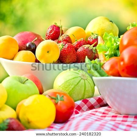 Seasonal organic fruits and vegetables - stock photo